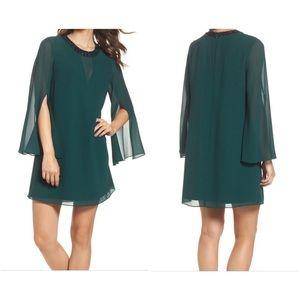 Vince Camuto Green Embellished Chiffon Shift Dress